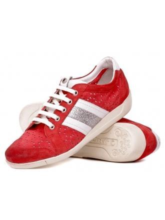 Sneakersy Włoskie Janet Sport Skórzane Czerwone 19 31883 ROSSO