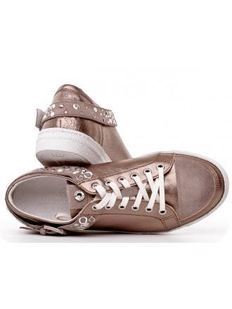 Sneakersy Włoskie Janet Sport Skórzane Brudne Złoto 19 31900 F137