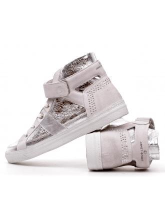 Sneakersy Włoskie Janet Sport Skórzane Srebrne 19 31902 ARGENTO