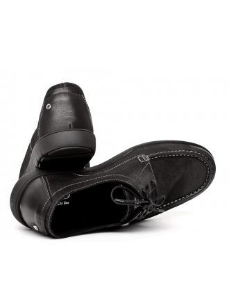 Półbuty Sportowe Męskie NORD Kolekcja Doberman Czarne Skórzane 01 2274 V691