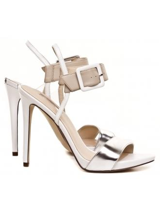 Sandały Damskie Na Szpilce GUESS Biało Beżowe Skórzane ABBIE 22 FLABB2 LEA03 BEIGE