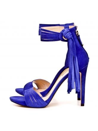 Sandały Damskie Na Szpilce GUESS Kobaltowe Skórzane AIDA 22 FLAID2 SUE03 BLUE