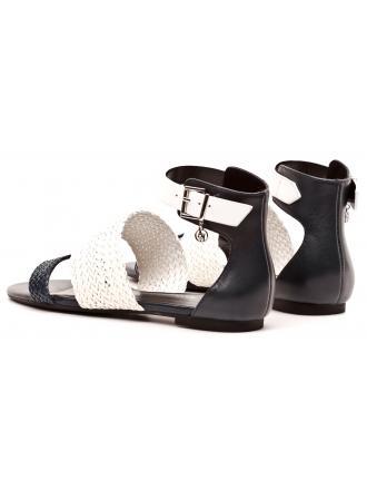 Sandały Damskie Armani Jeans Biało Granatowe 30 C5517 15 G8 BLUE