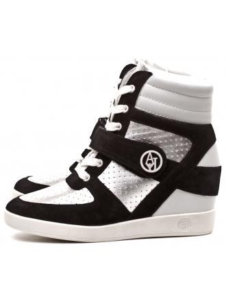 Sneakersy Damskie Armani Jeans Srebrne Skórzane 30 C55E1 63 81 SILV