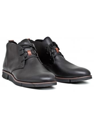 Trzewiki Męskie Clarks Czarne Skórzane 23 Trigen Mid 261198457 Black Leather