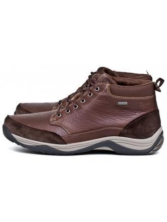 Trzewiki Męskie Clarks Brązowe Skórzane Gore-Tex 23 Baystonetopgtx 2612009577 Brown Warmlined Leather