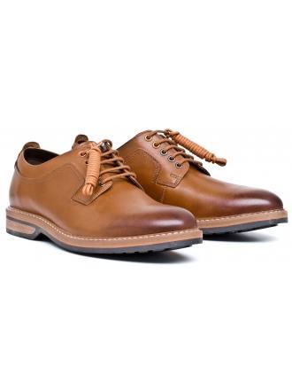 Półbuty Męskie Clarks Brązowe Skórzane 23 Pitney Walk 261205817 Cognac Leather