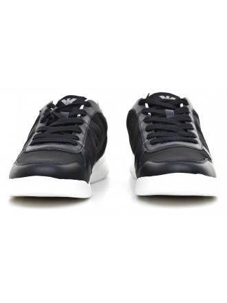 Sneakersy Męskie Armani Jeans Granatowe Skórzane 30 935044 6A441 BLUE GAPHITE