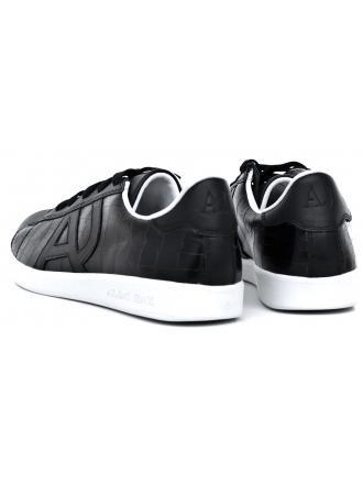 Sneakersy Męskie Armani Jeans Czarne Skórzane 30 935565 CC502 00020 NERO