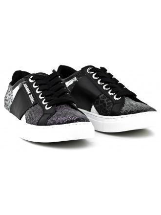 Sneakersy Damskie Armani Jeans Czarno Srebrne 30 925207 7P596 00020 NERO