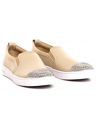 Sneakersy Damskie GUESS Beżowe Skórzane GLORIENNE FLGNN1 LEA12 BEIGE