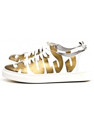 Sneakersy Damskie GUESS Biało-Złote Skórzane OHARA 22 FLOHR2 LEP12 GOLD