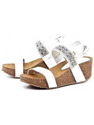 Sandały Damskie Na Koturnie Venezia Białe Skórzane 2457 PEL BIAN