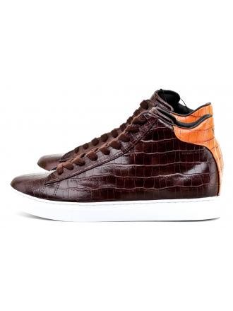 Sneakersy Męskie Armani Jeans Brązowe 30 935116 7A401 13953 DARK BROWN