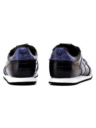 Sneakersy Męskie Armani Jeans Czarne Skórzane 30 935027 7A418 00020 NERO