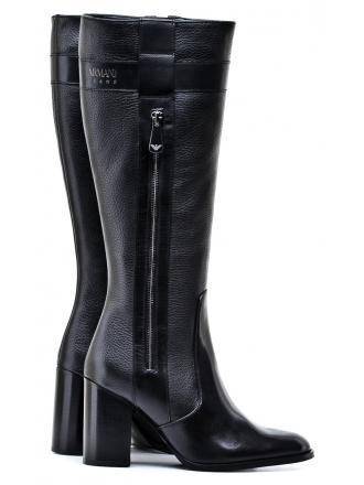 Kozaki Damskie Armani Jeans Czarne Skórzane 30 925292 7A626 00020 NERO