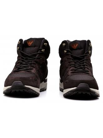 Sneakersy Męskie Armani Jeans Brązowe 30 935123 7A409 00421 NERO/MARORONE