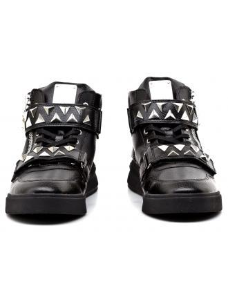 Sneakersy Męskie GUESS Czarne Skórzane KNIGHT FMKNR4 LEA12 BLACK