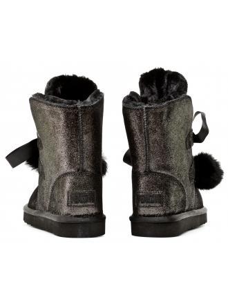 Śniegowce Damskie Venezia Czarne Skórzane 04 UP510 POL NER