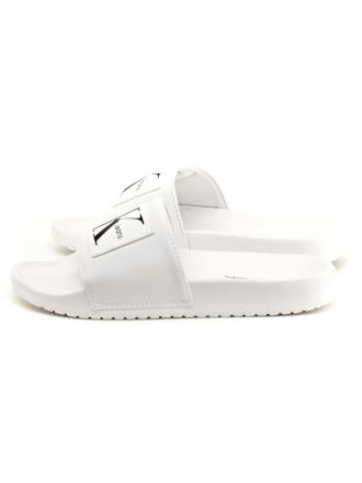Klapki Damskie Calvin Klein Jeans Białe Chloe Nylon R8838 White