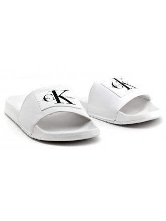 Klapki Męskie Calvin Klein Jeans Białe Vital Nylon S0548 White