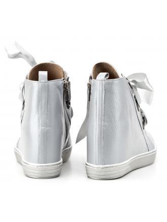 Sneakersy Damskie Venezia Szare Skórzane 6002 PEL CENE
