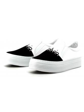Sneakersy Damskie Calvin Klein Jeans Biało Czarne Zinah R0645 WHITE/BLACK