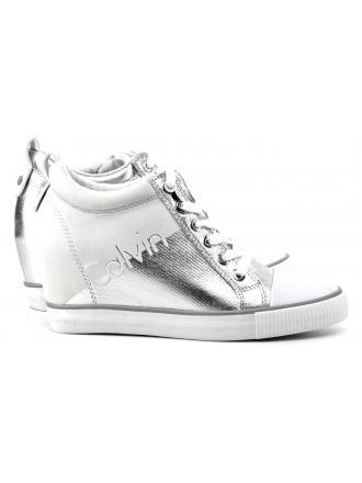 Sneakersy Damskie Calvin Klein Jeans Srebrno Białe Rory R0646 SILVER/WHITE