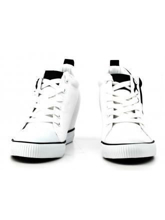 Sneakersy Damskie Calvin Klein Jeans Biało Czarne Rory R0647 WHITE/BLACK