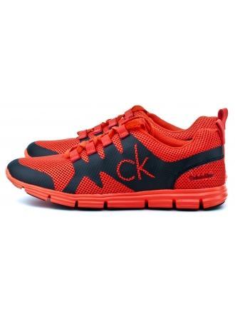 Sneakersy Męskie Calvin Klein Jeans Pomarańczowe Murphy SE8525 ORANGE/BLACK
