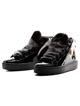 Sneakersy Damskie GUESS Czarne Lakierowane FLURL3 PAF12 BLACK