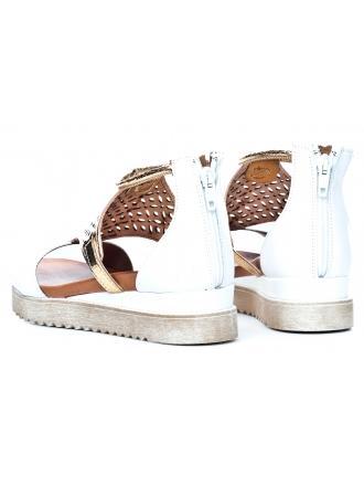 Sandały Damskie Venezia Białe Skórzane 04 7022 BIA ORO