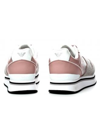 Sneakersy Damskie Emporio Armani Pudrowe 45 X3X046 XL214 A023 PLA/NUDE/SIL/WHI