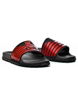 Klapki Męskie Emporio Armani Czerwone 45 X4P077 XL273 A042 BLACK/RED