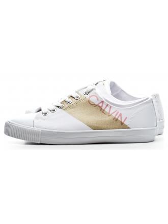 Sneakersy Damskie Calvin Klein Jeans Biało Złote Deena RE9803 White/Gold
