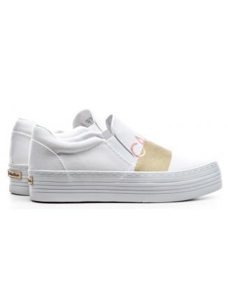 Sneakersy Damskie Calvin Klein Jeans Biało Złote Zelma RE9805 White/Gold
