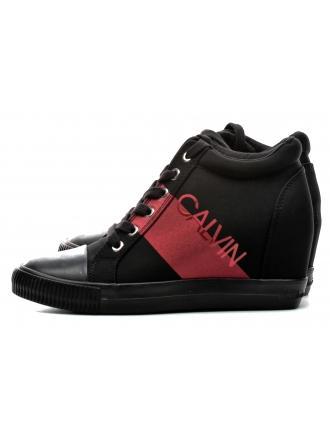 Sneakersy Damskie Calvin Klein Jeans Czarno Czerwone Roxanna RE9806 Black/Red