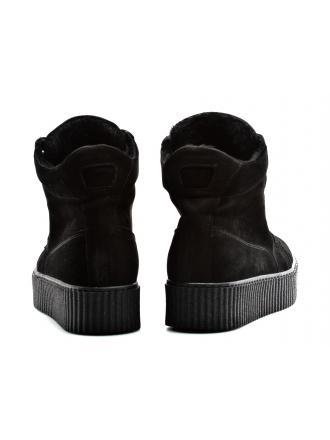 Botki Damskie Venezia Czarne Skórzane 211112 BLACK