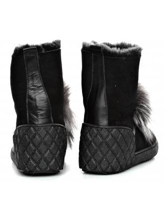 Śniegowce Damskie Venezia Czarne Skórzane 2107053R11 BL