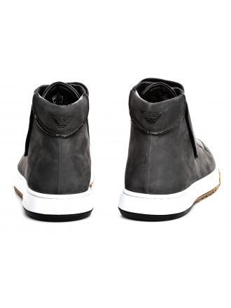 Sneakersy Męskie Emporio Armani Szare Skórzane X4M301 XL466 A191 DK GREY/BLACK