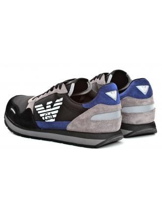 Sneakersy Męskie Emporio Armani Kolorowe X4X215 XL200 A808 BLACK/PRUS.BLU/GREY