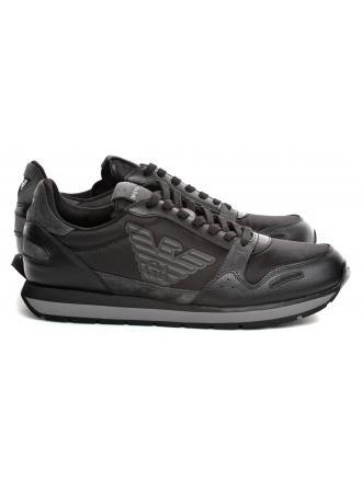 Sneakersy Męskie Emporio Armani Czarne X4X215 XL454 B936 BLACK/SHARK/BLACK