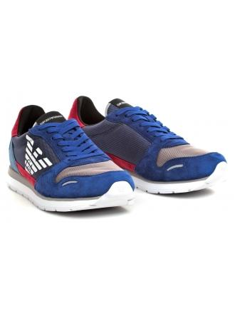 Sneakersy Męskie Emporio Armani Niebieskie X4X215 XL200 D004 PRUS.BLU/SCARL/MING