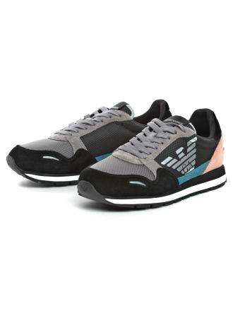 Sneakersy Damskie Emporio Armani Kolorowe X3X058 XL481 D765 BLACK/ASH