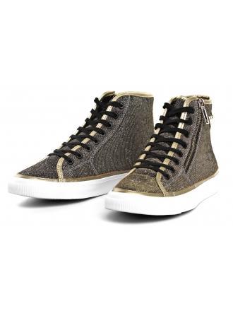 Sneakersy Damskie Emporio Armani Złote X3Z017 XL487 K002 BLACK/GOLD