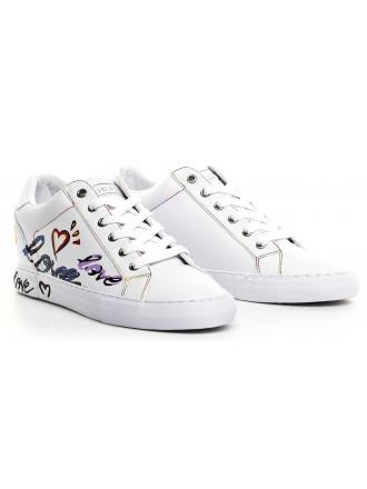 Sneakersy Damskie GUESS Białe PAXTINA FL5PXT ELE12 WHITE