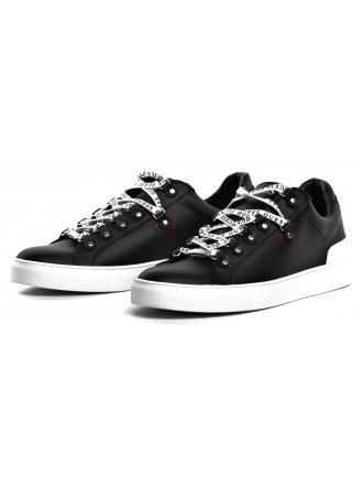 Sneakersy Męskie GUESS Czarne Skórzane BARRY FM5BAR LEA12 BLACK
