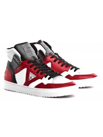Sneakersy Męskie GUESS Kolorowe Skórzane BRUCE FM5BRU LEA12 REDWH