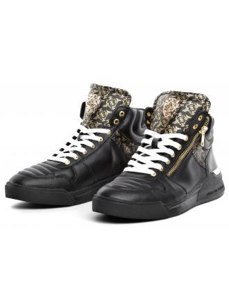 Sneakersy Męskie GUESS Czarne Skórzane KNIGHT MID FM6KNM LEA12 BLACK