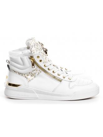 Sneakersy Męskie GUESS Białe Skórzane KNIGHT MID FM6KNM LEA12 WHITE